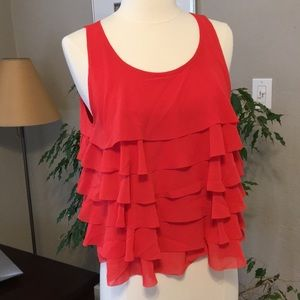 H&M Divided S 6 Red Ruffle Tank Spring Blouse EU36